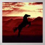 Una silueta del caballo que se alza posters