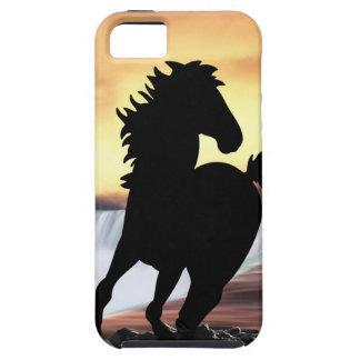 Una silueta y una cascada del caballo funda para iPhone SE/5/5s
