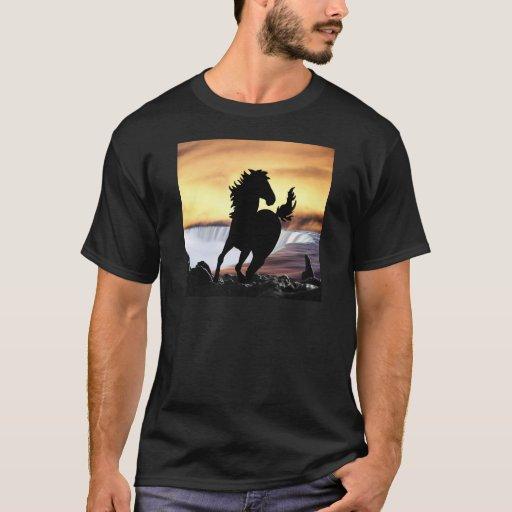 Una silueta y una cascada del caballo playera