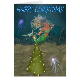 Una sirena del navidad tarjeta de felicitación