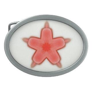 una sola flor del stat del rojo hebilla cinturon oval