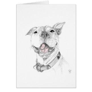 Una sonrisa del pitbull tarjeta de felicitación
