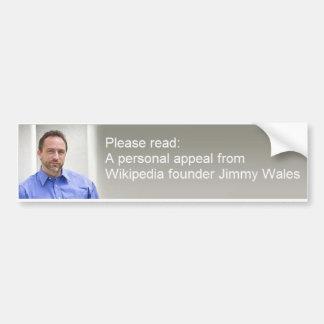 Una súplica muy personal… pegatina de parachoque