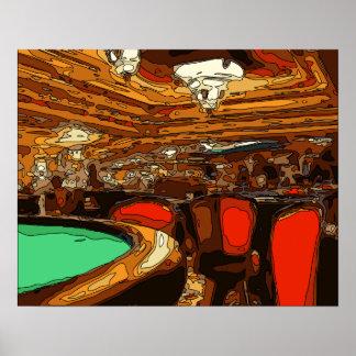 Una tabla de Black Jack en el corazón de un casino Posters