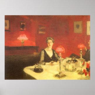 Una tabla de cena en la noche por Sargent, arte Póster