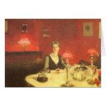 Una tabla de cena en la noche por Sargent, arte Tarjeta De Felicitación