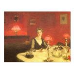 Una tabla de cena en la noche por Sargent, arte Postal