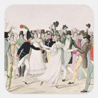 Una tarde en el Tuileries en julio de 1815 Calcomanía Cuadradas Personalizadas