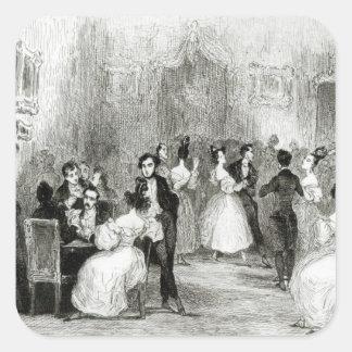 Una tarde en la casa de Charles Nodier 1831 Calcomania Cuadradas Personalizadas