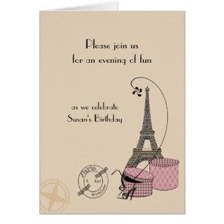 Una tarde en tarjeta de felicitación temática rosa