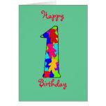 Una tarjeta de cumpleaños año del bebé