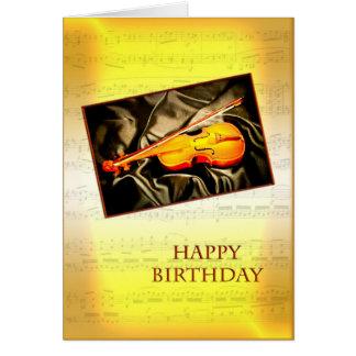 Una tarjeta de cumpleaños con un violín