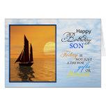 Una tarjeta de cumpleaños para un hijo. Una navega