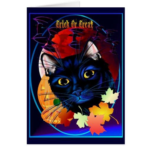 Una tarjeta de Halloween del gato negro