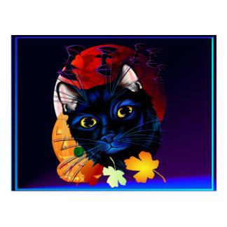 Una tarjeta de Halloween del gato negro Postal