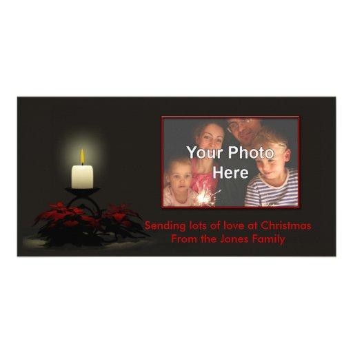 Una tarjeta de la foto de la vela del navidad tarjeta fotográfica