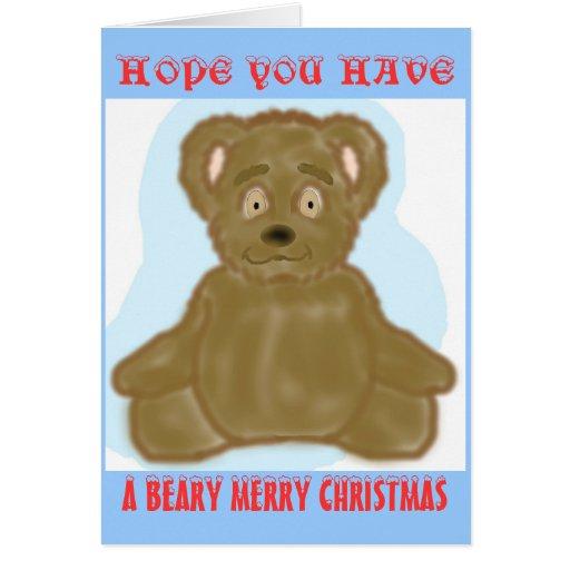 Una tarjeta de las Felices Navidad de Beary