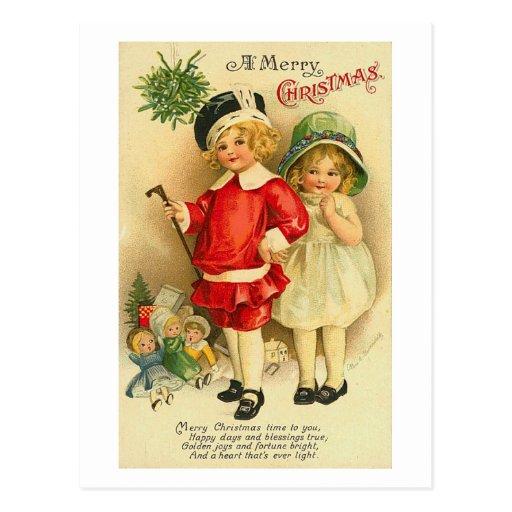Una tarjeta de los niños de las Felices Navidad Tarjetas Postales