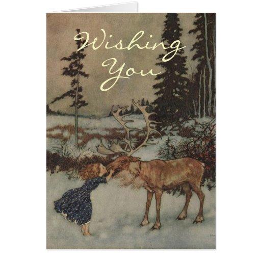 Una tarjeta de Navidad del reno del vintage