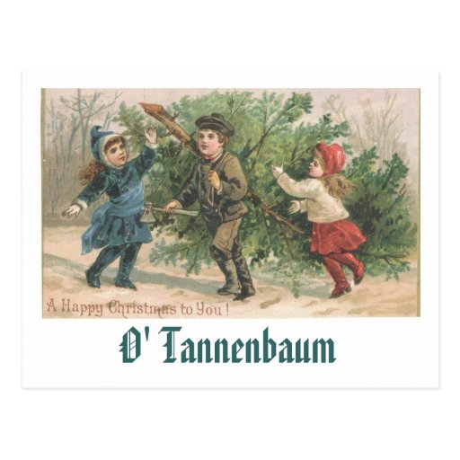 Una tarjeta de Navidad del vintage - O Tannenbaum Postal