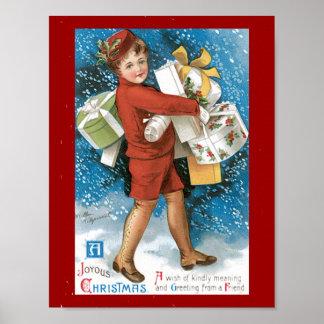 Una tarjeta de Navidad feliz del vintage del navid Posters