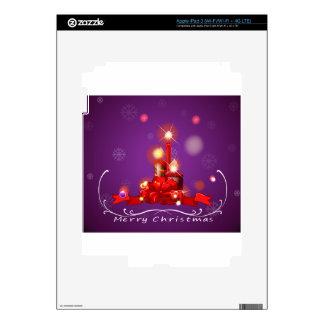 Una tarjeta de Navidad púrpura con rojo encendió iPad 3 Pegatinas Skins
