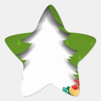 Una tarjeta de Navidad verde con un reno que Pegatina En Forma De Estrella