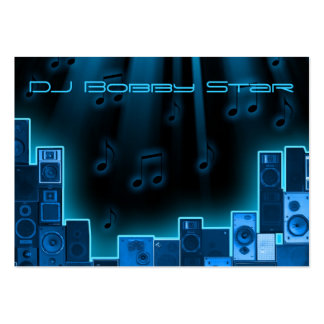 Una tarjeta de visita azul fresca del laser de DJ