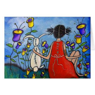 Una tarjeta del chica y del conejito del amigo ver