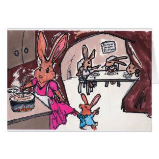 Una tarjeta del conejito para la mamá o las abuela