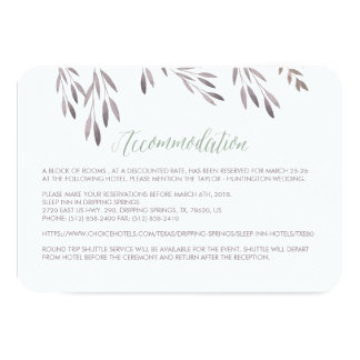 """Una tarjeta del recinto del hotel del boda del invitación 3.5"""" x 5"""""""