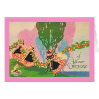 Una tarjeta del vintage del feliz cumpleaños