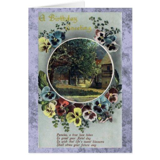 Una tarjeta del vintage del saludo del cumpleaños