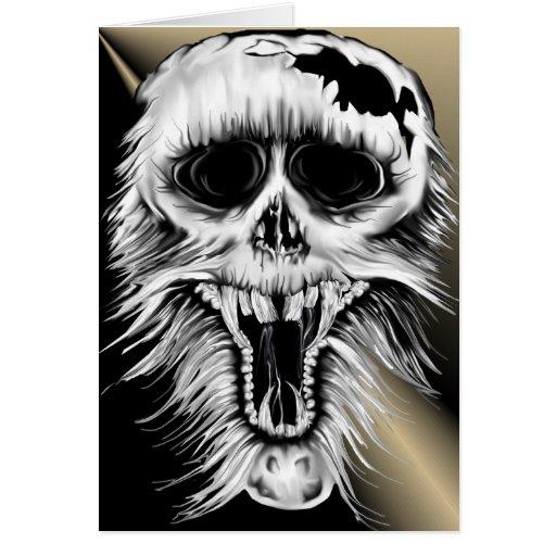 Una tarjeta desagradable del cráneo