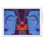 Una tarjeta dichosa de la meditación