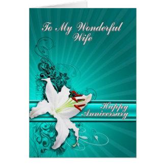 Una tarjeta hermosa del aniversario del lirio para
