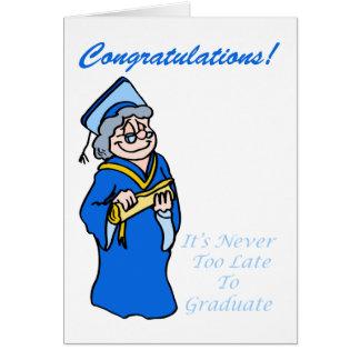 Una tarjeta más vieja y más sabia del graduado