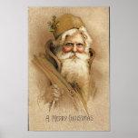 Una tarjeta vieja de Santa de las Felices Navidad Póster
