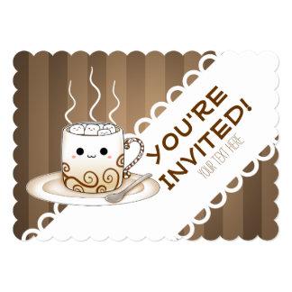 """Una taza caliente del animado del kawaii lindo del invitación 5"""" x 7"""""""
