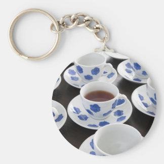 Una taza de llavero del té