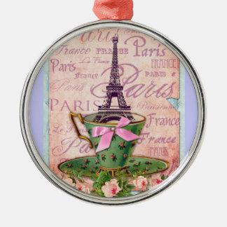 Una taza de viaje Eiffel Adorno Redondo Plateado