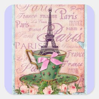 Una taza de viaje Eiffel Pegatina Cuadrada