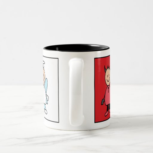 Una taza divertida agradable del diablo del ángel