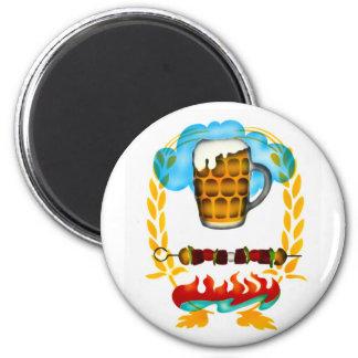 ¡Una taza fría de cerveza! Imán Redondo 5 Cm
