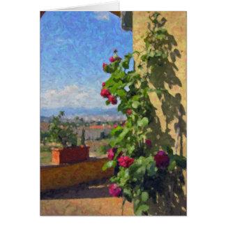 """""""Una terraza, tarjetas de felicitación de Toscana"""""""