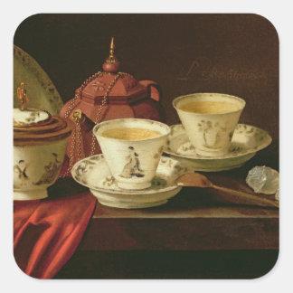 Una tetera de Yixing y una porcelana china Pegatina Cuadrada