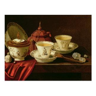 Una tetera de Yixing y una porcelana china Postal