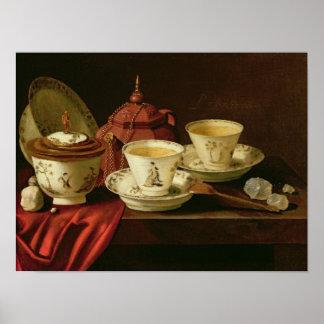 Una tetera de Yixing y una porcelana china Tete-a- Póster