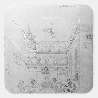 Una tienda del licor de Londres, 1839 Calcomanía Cuadradas Personalizadas