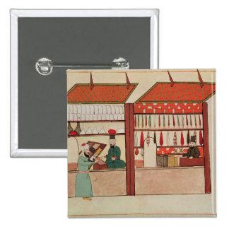 Una tienda que vende diversa mercancía pin cuadrada 5 cm
